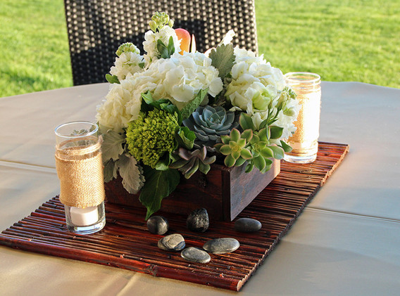 Succulents and White Flowers in Wood Box