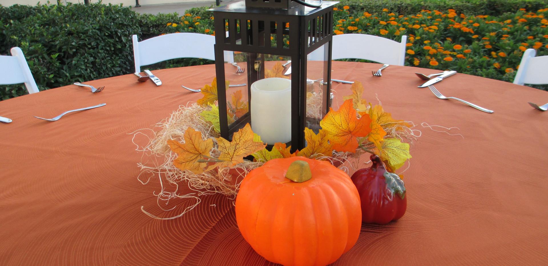 Small Lantern & Pumpkin Centerpiece