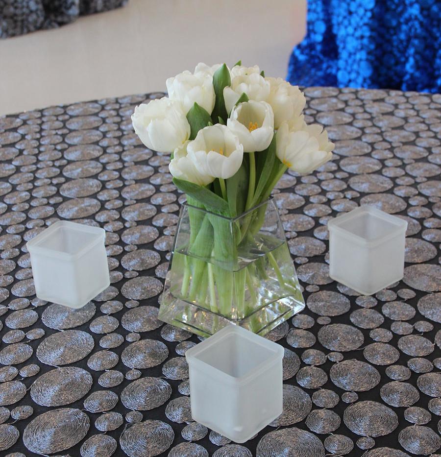 Modern White Tulip w Frosted Votives.jpg