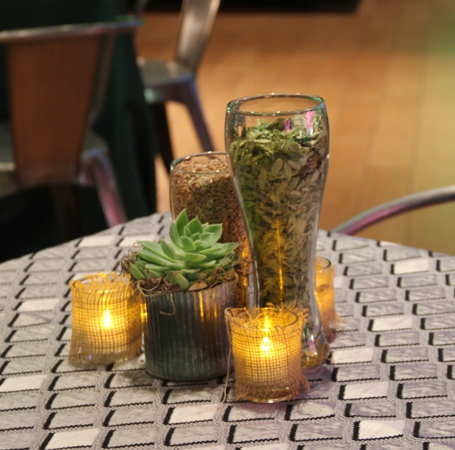 Hops, Beer Glass and Tin Succulents (2).