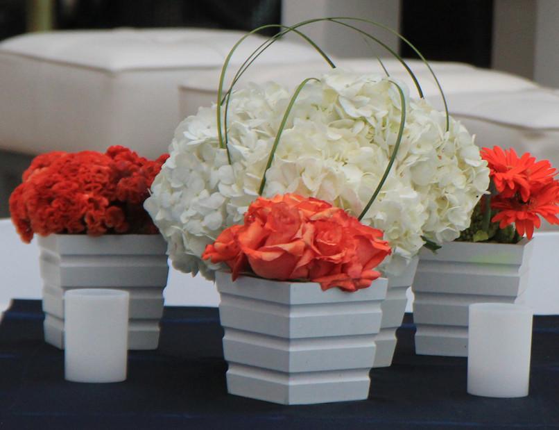 Orange and White on Navy dinner grouping