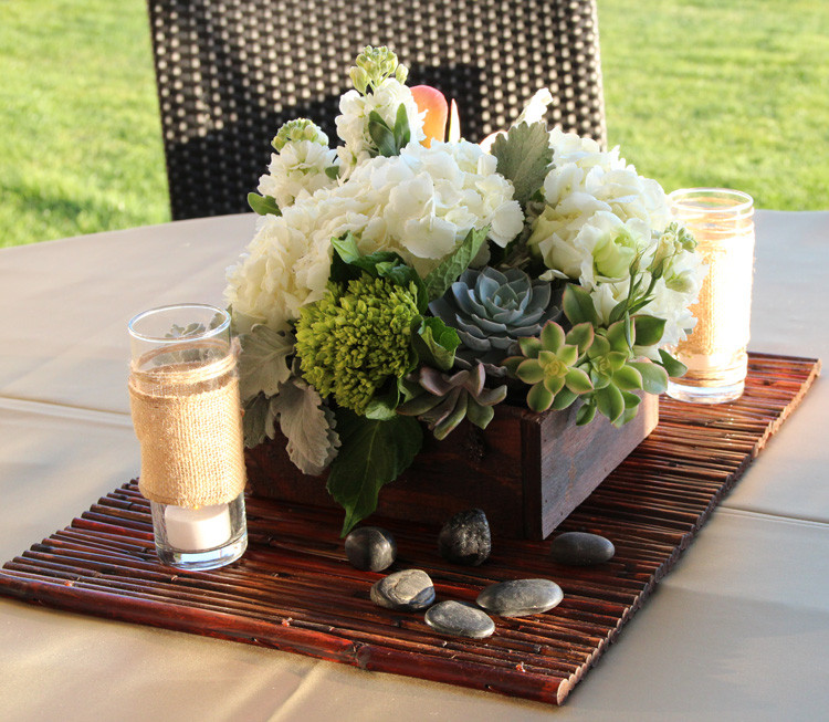 Succulents and White Florals in Wood Box