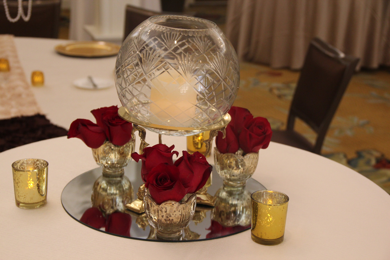 Vintage Crystal on Gold stand with red r