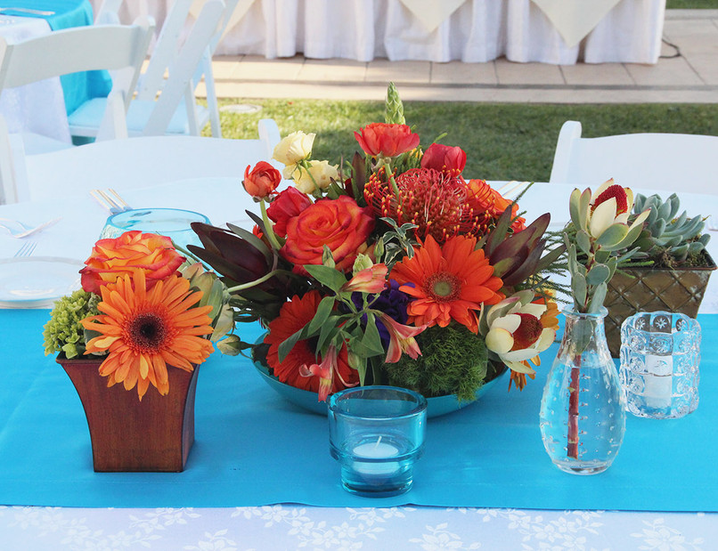 Orange Gerber Daisy and Roses Grouping.j
