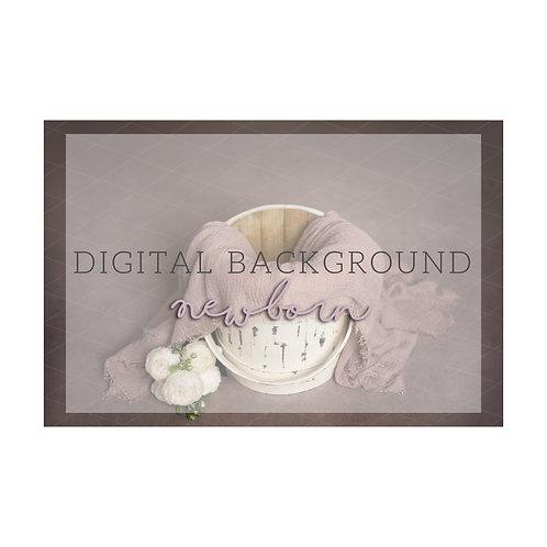Newborn Digital Background | white sugar bucket | dusty pink wrap