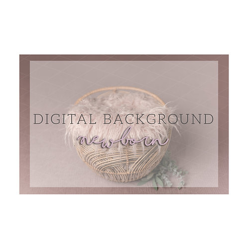 Newborn Digital Background | basket| pink fur