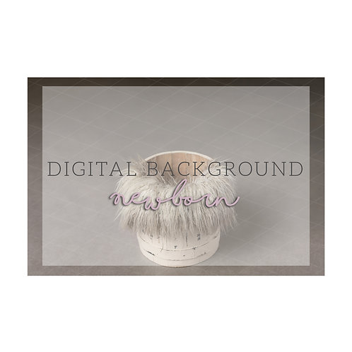 Newborn Digital Background | White bucket w/ fur
