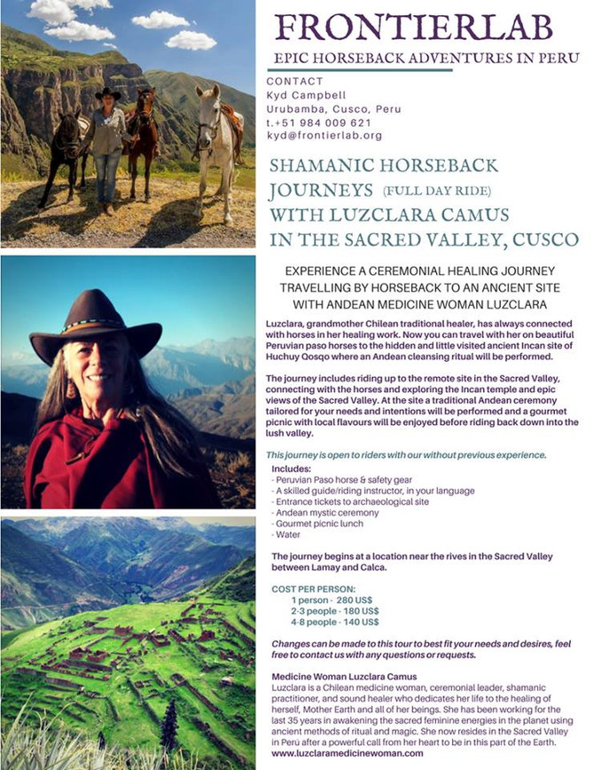 SHAMANIC HORSEBACK JOURNEYS (full day ride) IN THE SACRED VALLEY, PERU