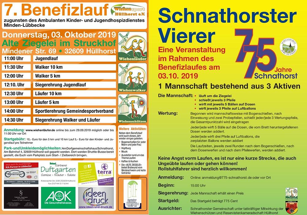 """Wiehensport Hüllhorst e.V. lädt ein zum 7. Benefizlauf im Struckhof. Dieses Jahr gibt nach dem Benefizlauf noch das Event """"Schnathorster Vierer"""" ! Dabei sein ! Alle Informationen und Anmeldung auf www.wiehenläufer.de"""
