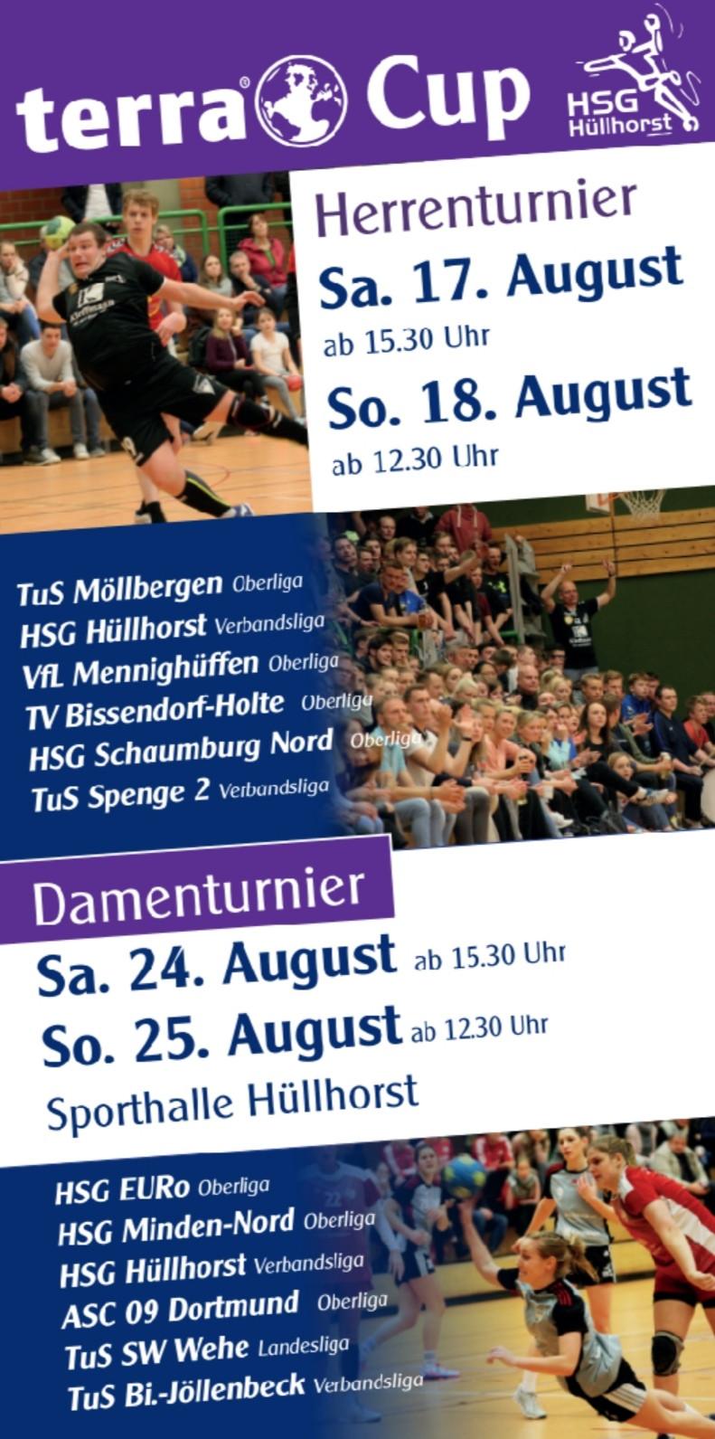 ab Samstag den 17.08.19 in der Hüllhorster Sporthalle. Spielpläne auf www.hsg-huellhorst.de