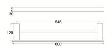 4624D DOUBLE TOWEL RAIL 600MM