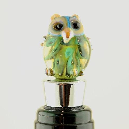 Bottle stopper blue feather owl