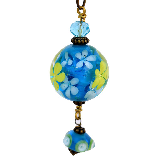 Pendant blue with yellow flowers