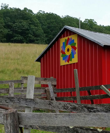 Mary's Flower barn quilt on a red barn, Craig County VA