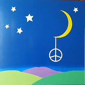 Stars and Moon with a peace sign