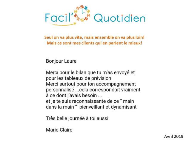 Témoignage Marie-Claire | Avril 2019