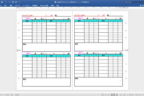 (A4用紙で作る)システム手帳用A5トレーナー用記録用紙