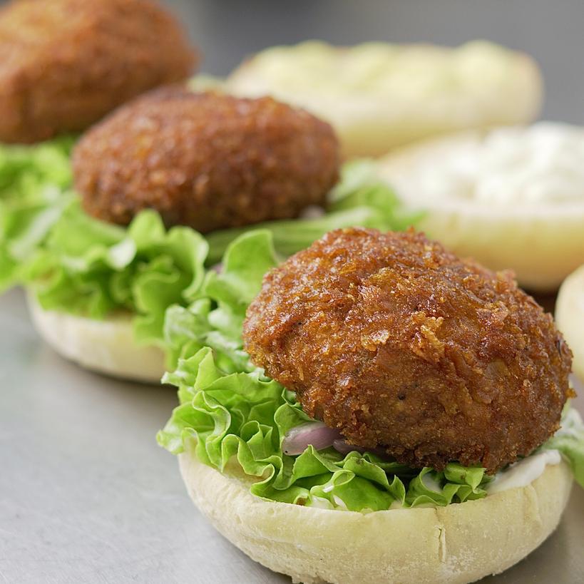 Burgers végétariens au champignon frit