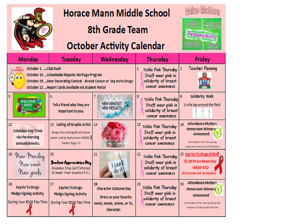 8th Grade October Activity Calendar 2020