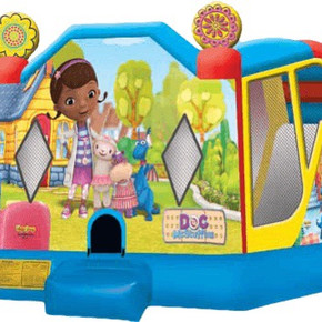 Doc McStuffins 4 -1  combo   Bounce house, hoop, wall, and slide
