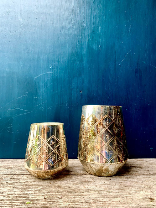 Burnished Silver Effect Containers
