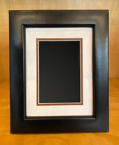 Black Leather Easel Frame--Archival Matted for 5x7 Photo, or full 8x10