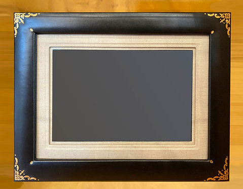 Forest Leather Easel Frame--Archival Fabric Matted for 8x10 Photo