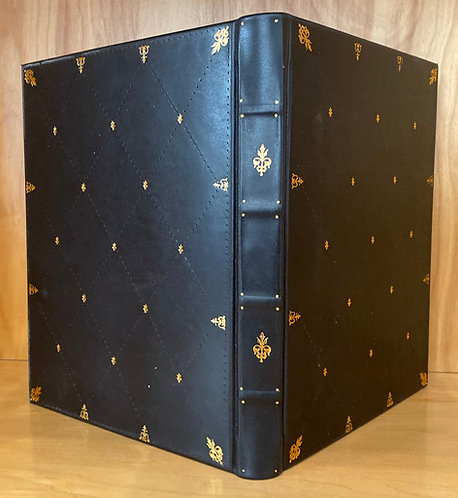 Black Calfskin | 23kt Gold Tooling | Hand Painted Endpapers