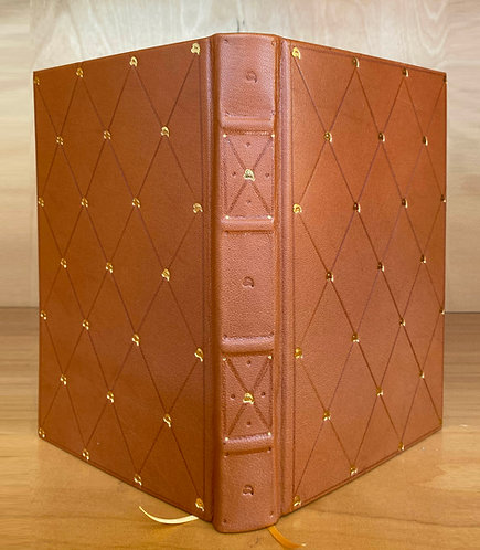 Tan Goatskin | 23kt Gold Tooling | Hand Painted Endpapers