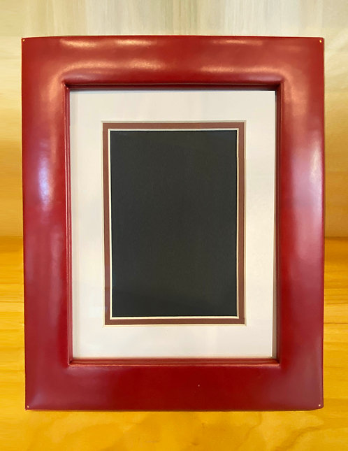 Red Leather Easel Frame--Archival Matted for 5x7 Photo, or full 8x10