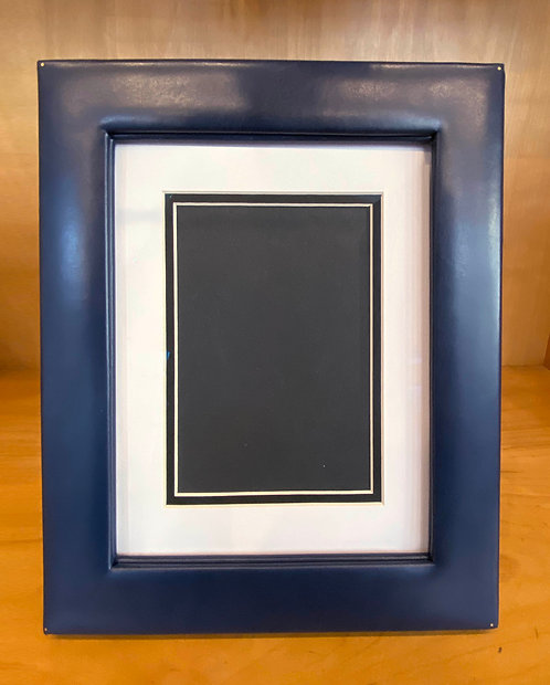 Navy Leather Easel Frame--Archival Matted for 5x7 Photo, or full 8x10
