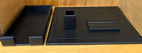 Black Calfskin Desk Set--Fixed top Pad, Legal Tray, Pen Rest and Pencil Cup