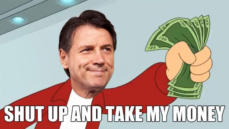 """meme di Fry """"shut up and take my money"""" con la faccia di Conte"""
