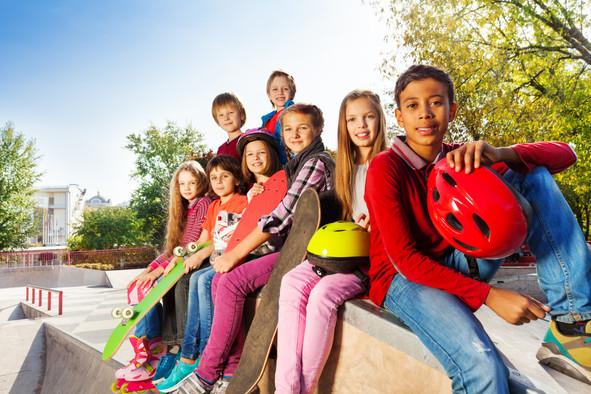 Group of international children with ska