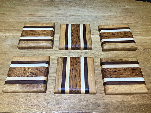 Hand Made Striped Coasters x 6