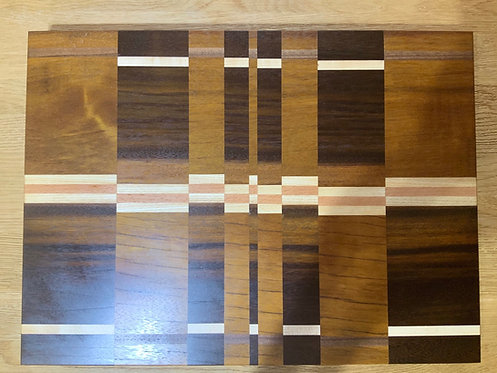 Large Greenheart & Mixed Hardwood Chopping Board In Abstract Pattern