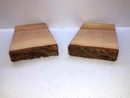 Nice and simple cheese boards, ash waney edge with bark.