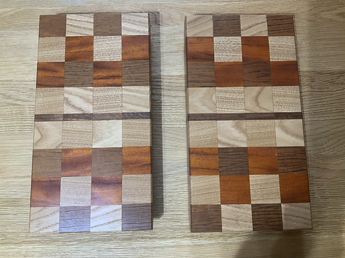 Hardwood Chequered Cheese Boards