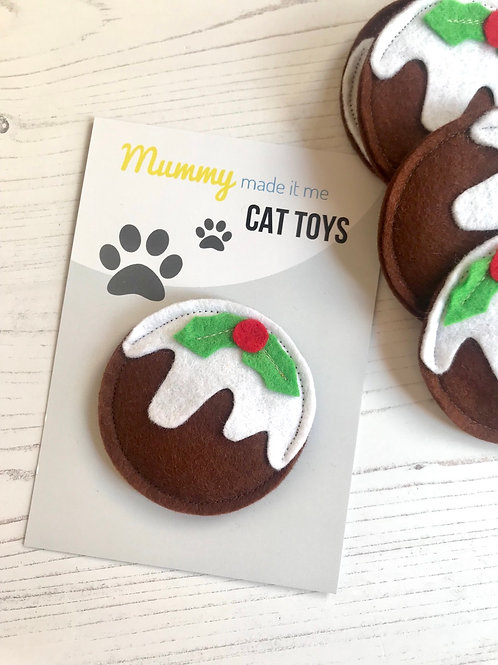 Novelty Felt Food Cat Nip Christmas Pudding Toy