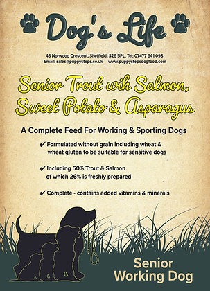 Dog food for retired working dogs
