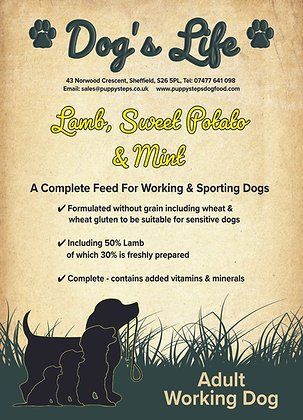 Grain free working dog food for sporting dogs