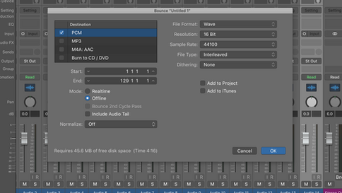 EXPORT SETTINGS IN THE MOST COMMON DAW