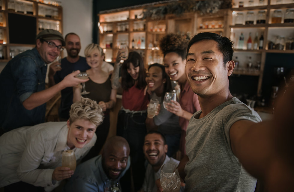 Laughing group of diverse young friends