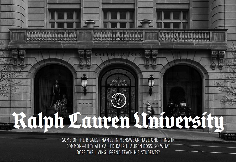 Featured on Valet - Ralph Lauren University