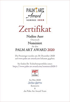 Zertifikat Nominee2020-Auer Palm Art Awa
