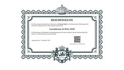 Luxembourg Art Prize 2020 Zertifikat Bes