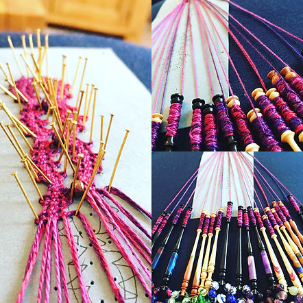 lacemaking with Rothwell Bobbins and etui coterie