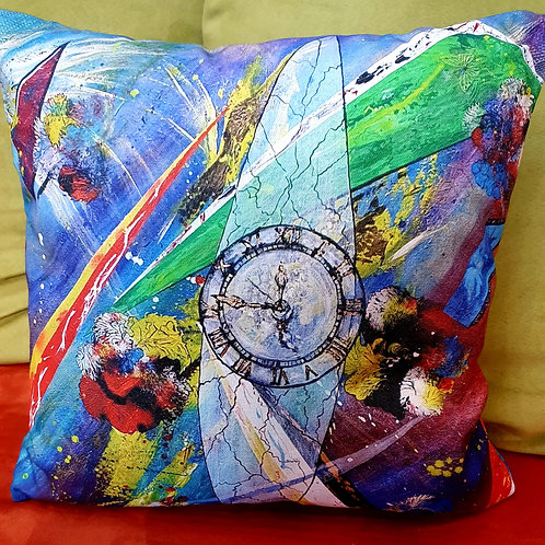Pillow with art print - time