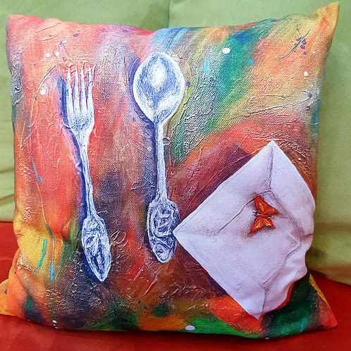 Pillow with art print - snack