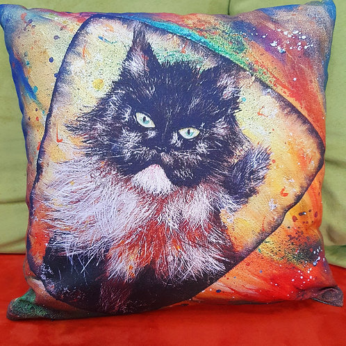 Pillow with art print - a cat